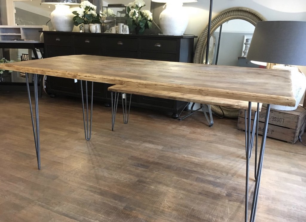 Industrial Hair Pin Leg Dining Table