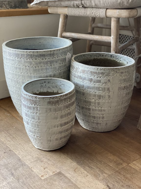 Set Of 3 Glazed Terracotta Pots (sold Individually)