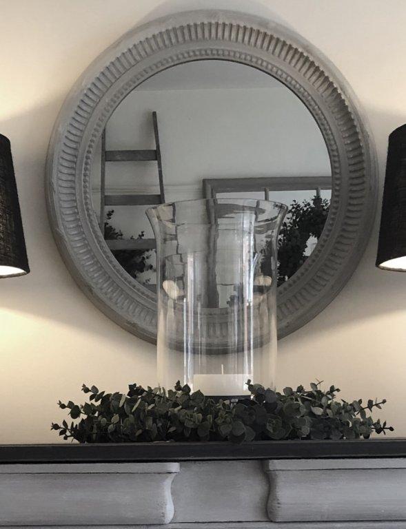 Circular Carved Soft Grey Mirror