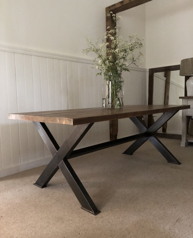Bespoke Industrial Cross Frame Dining Table With Reclaimed Joist Top