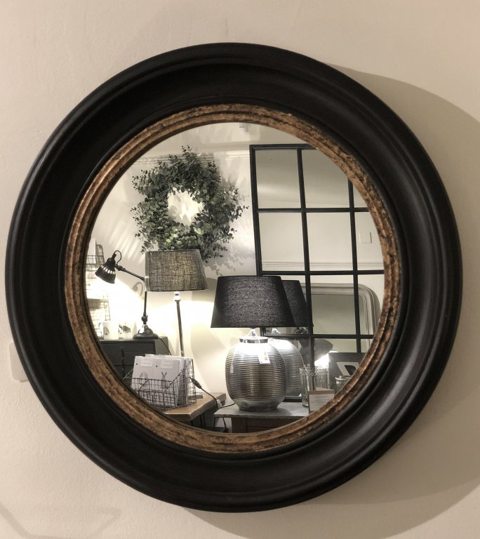 Circular Mirror Black With Gold Inner Rim