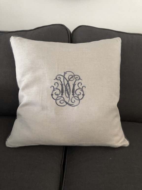 Monogrammed Cushion Charcoal On Linen