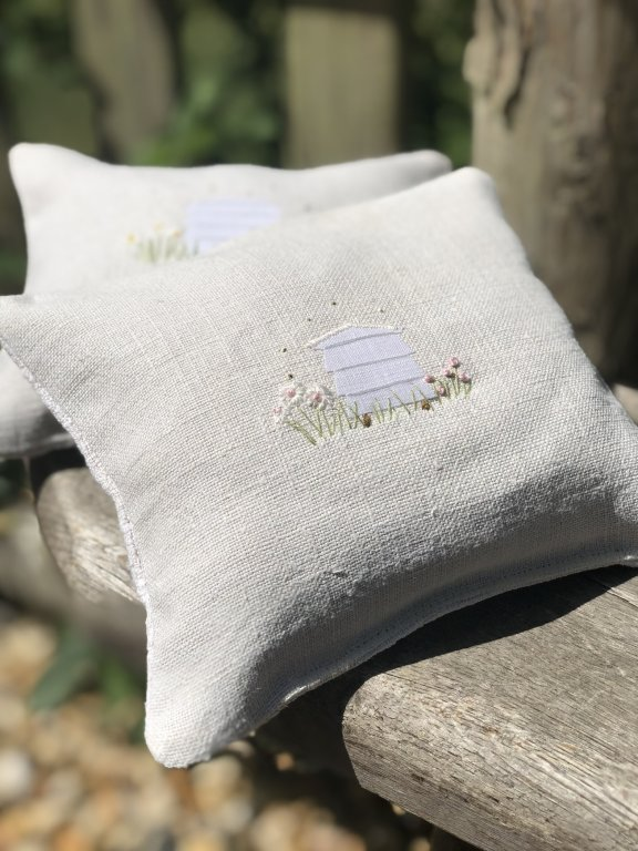 Hand Embroidered Vintage Linen Lavender Bags - Beehive