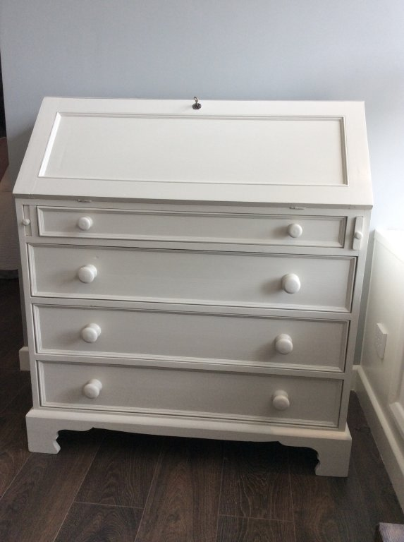 Bureau Painted In Shaded White