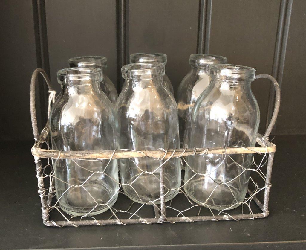 Wire Basket With 6 Mini Milk Bottles