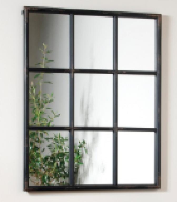 Six Paned Black Iron Mirror