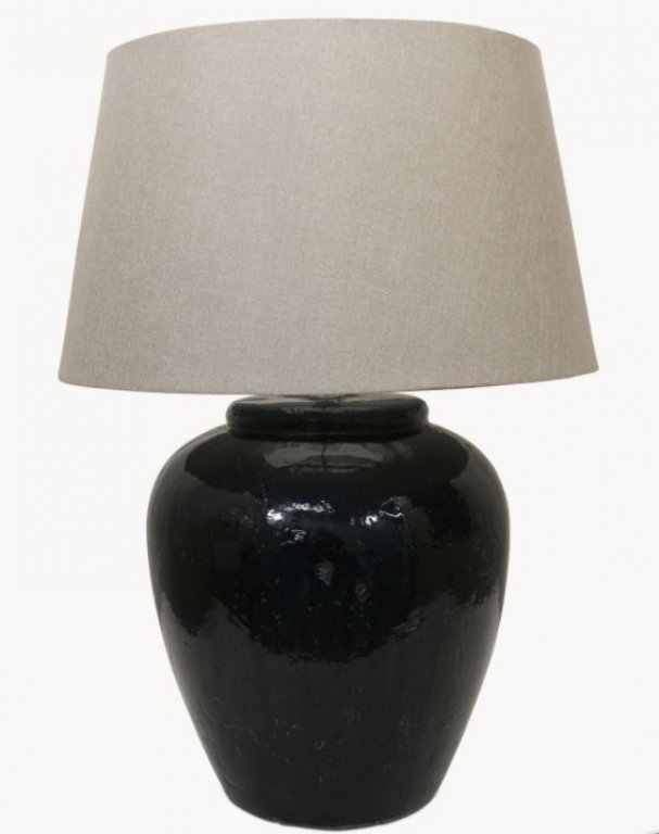 Glazed Lamp Base - Dark Blue