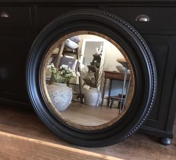 Striking Black And Gold Beaded Circular Mirror