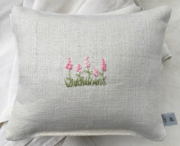 Hand Embroidered Vintage Linen Lavender Bag - Foxgloves