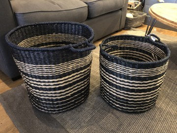 Black And Natural Stripe Baskets