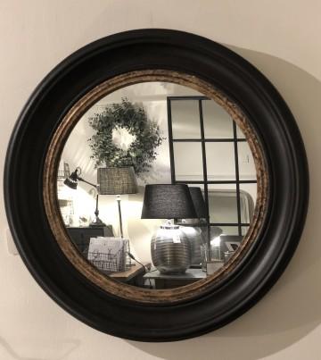 Circular Mirror Black With Gold Inner Rim