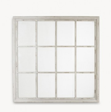 Window Pane Grey Wooden Mirror