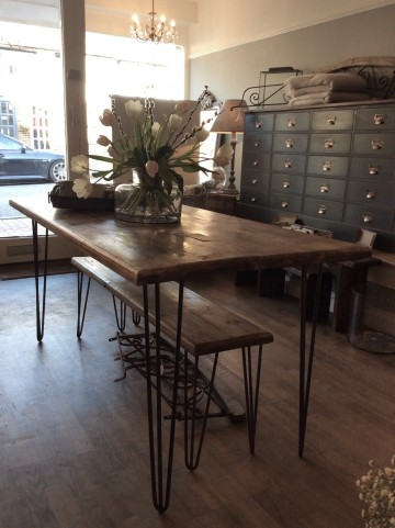 Dining Table In Reclaimed Oak With Hairpin Legs