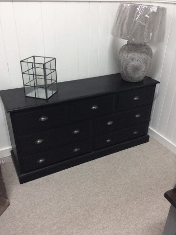 Hand Painted Black Merchants Chest With Seven Drawers