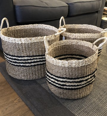 Natural And Black Striped Baskets