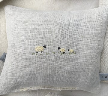 Hand Embroidered Vintage Linen Lavender Bag - Sheep