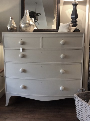 Bow Fronted Painted Victorian Chest Of Drawers