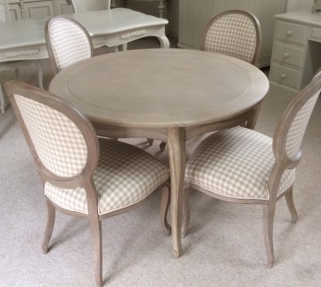 Belford French Style Table & 4 Upholstered Oval Backed Chairs