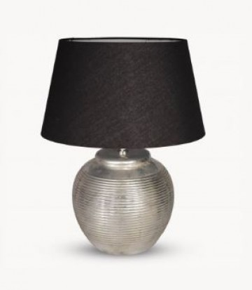 Ribbed Silver/metal Lamp Base And Black Shade