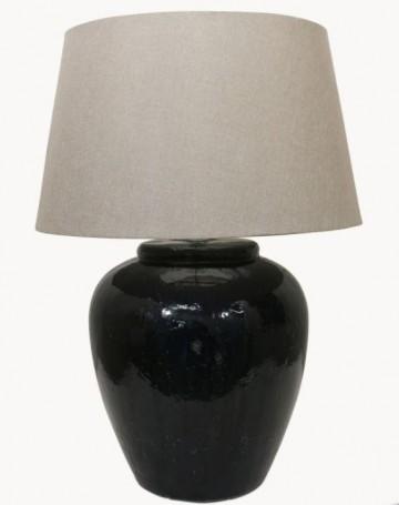 Glazed Lamp Base - Dark Blue